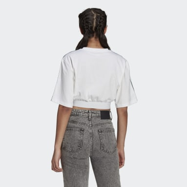 Women Originals White Adicolor 3D Trefoil Cropped Oversize Tee