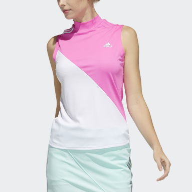 Women Golf Pink Sleeveless Polo Shirt
