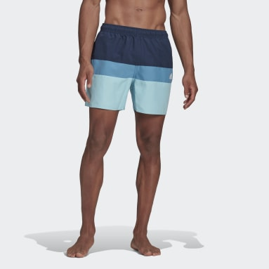 Men Swimming Blue Short-Length Colorblock Swim Shorts
