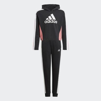 Mädchen Fitness & Training Colorblock Crop Top Trainingsanzug Schwarz