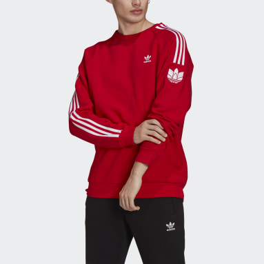 Men Originals Red LOUNGEWEAR Adicolor 3D Trefoil 3-Stripes Crew Sweatshirt
