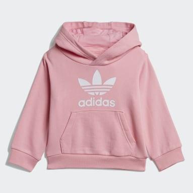 Girls Originals Pink Trefoil Hoodie Set