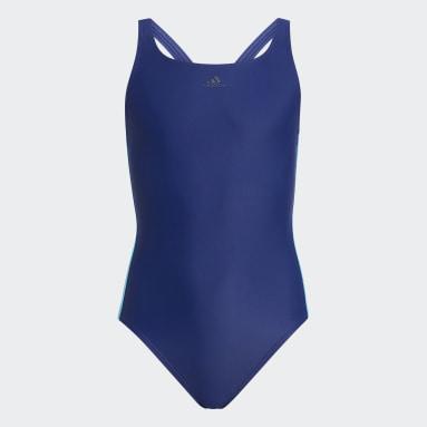 Girls Simning Blå Athly V 3-Stripes Swimsuit
