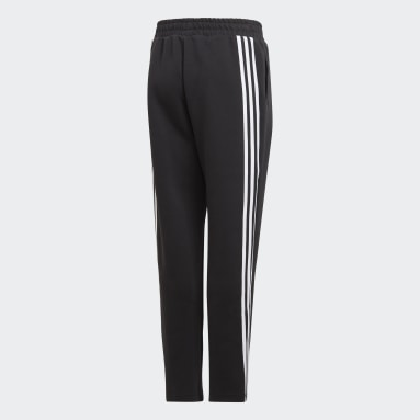 Boys Gym & Training Black 3-Stripes Doubleknit Tapered Leg Tracksuit Bottoms