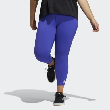 Women Gym & Training Purple Believe This Solid 7/8 Tights​ (Plus Size)