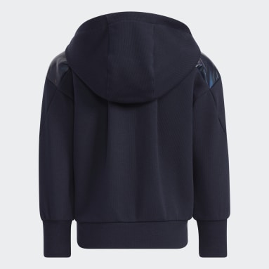 Girls Training Blue French Terry Hooded Jacket