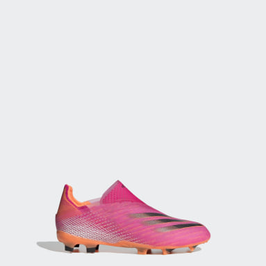 Kids Football Pink X Ghosted+ Laceless Firm Ground Boots