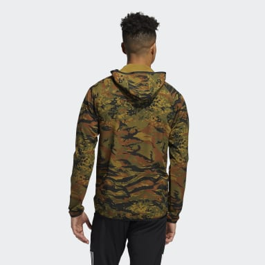 Sweat-shirt à capuche FreeLift Camouflage Training Vert Hommes Sports D'hiver