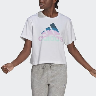 Camiseta FARM Rio Tie-Dye-Inspired Graphic Cropped Blanco Mujer Sportswear