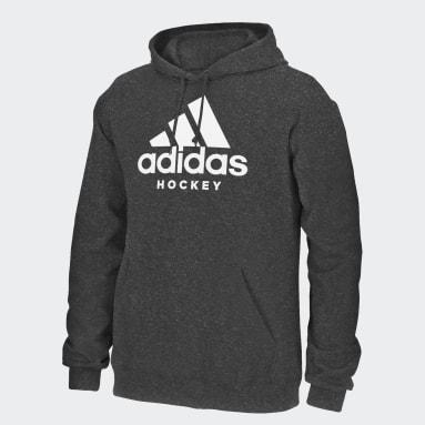 Men Hockey Grey Badge of Sport Hockey Hoodie