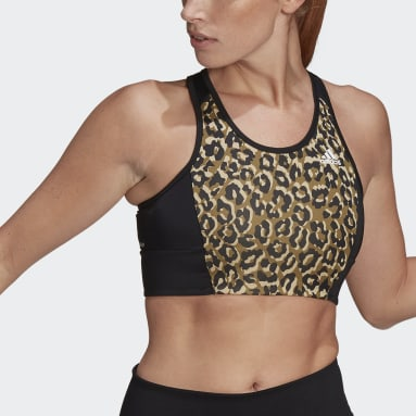 Women Studio Beige AEROREADY Designed 2 Move Leopard Print Bra Top