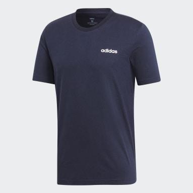 ผู้ชาย เทรนนิง สีน้ำเงิน เสื้อยืด Essentials Plain