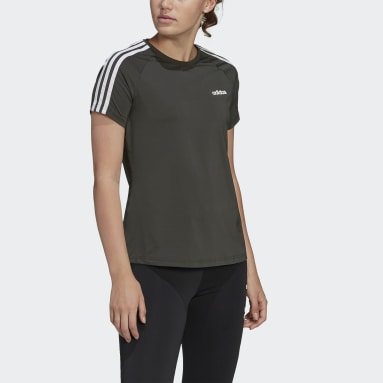 Camiseta Design 2 Move 3-Stripes Verde Mulher Training