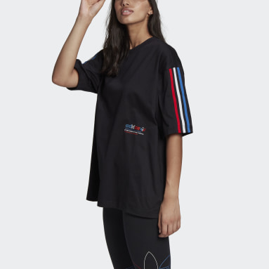 Dames Originals Zwart Adicolor Tricolor Oversized T-shirt