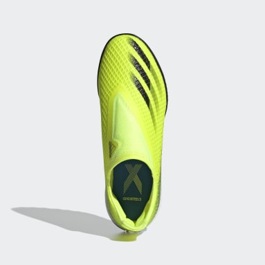 Chaussure X Ghosted.3 Laceless Terrain Turf Jaune Garçons Football