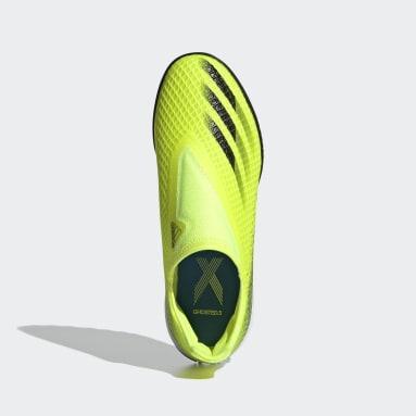 Zapatilla de fútbol X Ghosted.3 Laceless moqueta Amarillo Niño Fútbol