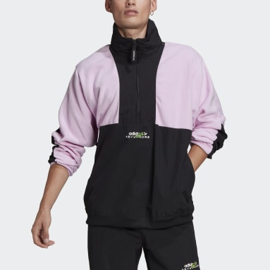 Men Originals Purple adidas Adventure Polar Fleece Colorblock Half-Zip Jacket