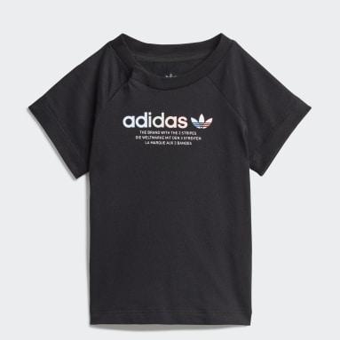Camiseta Estampada Adicolor Preto Kids Originals