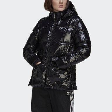 Women Originals Black Glossy A-Shape Down Puffer Jacket