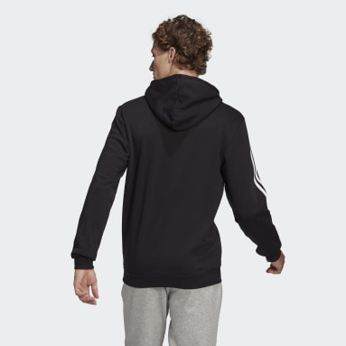 Men Sport Inspired Black Essentials Logo Colorblock Hoodie