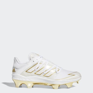 Men's Baseball White Adizero Afterburner 7 Gold TPU Cleats