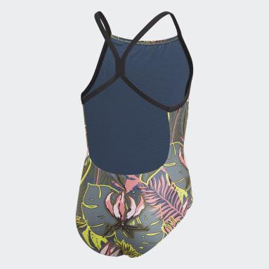 Girls Svømning Blå Flower badedragt