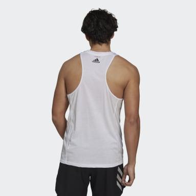 Men Running White Run Logo Tank Top