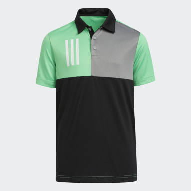Youth Golf Black 3-Stripes Chest Primegreen Golf Polo Shirt