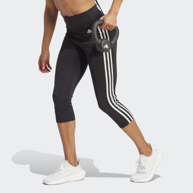 ผู้หญิง เทรนนิง สีดำ กางเกงรัดรูปสามส่วนเอวสูงสไตล์สปอร์ต Designed To Move 3-Stripes