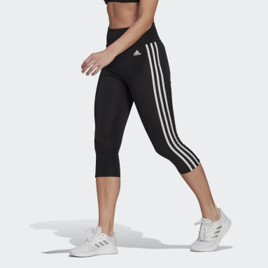 Women Gym & Training Black Designed To Move High-Rise 3-Stripes 3/4 Sport Tights