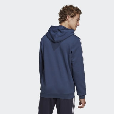 Men's Essentials Blue Essentials Logo Colorblock Hoodie