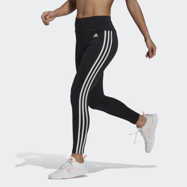 Dames Fitness En Training zwart Designed To Move High-Rise 3-Stripes 7/8 Sportlegging
