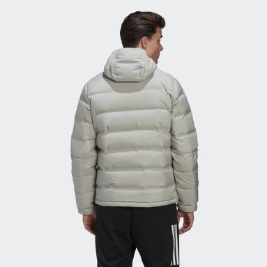 Men City Outdoor Grey Helionic Hooded Down Jacket