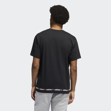 Men Originals Black Linear Logo Repeat Short Sleeve T-Shirt