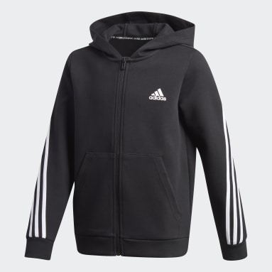 3-Stripes Doubleknit Full-Zip Hettegenser Svart