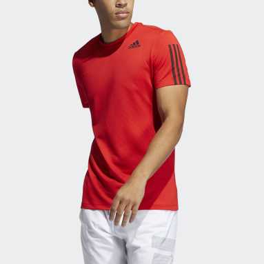 Heren Hardlopen Rood Primeblue AEROREADY 3-Stripes Slim-fit T-shirt