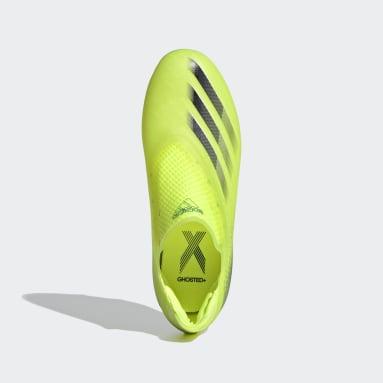 Bota de fútbol X Ghosted+ Laceless césped natural seco Amarillo Niño Fútbol