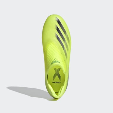 Chaussure X Ghosted+ Laceless Terrain souple Jaune Garçons Football