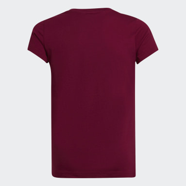 Girls Sportswear Burgundy Essentials Linear T-Shirt