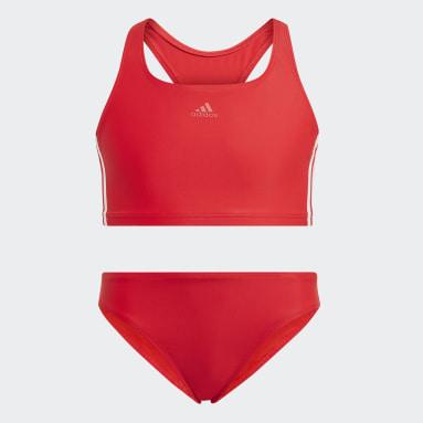 Youth Swim Red 3-Stripes Bikini