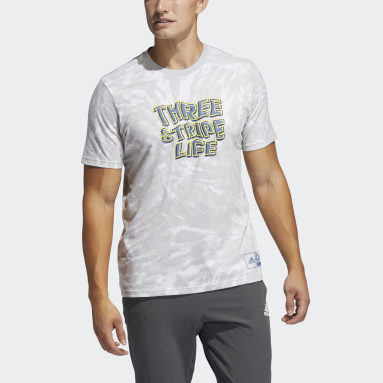 Men's Football White Three Stripe Life Tie-Dyed Graphic Tee