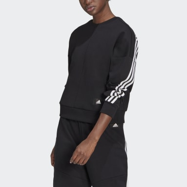 Women Sportswear Black adidas Sportswear Wrapped 3-Stripes Sweatshirt