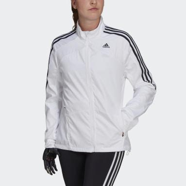 Women's Running White Marathon 3-Stripes Jacket