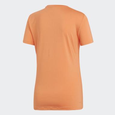 Women Gym & Training Orange Designed 2 Move Solid T-Shirt
