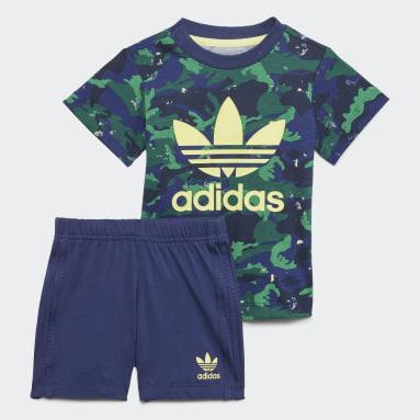 Boys Originals Blå Camo Shorts and Tee sæt