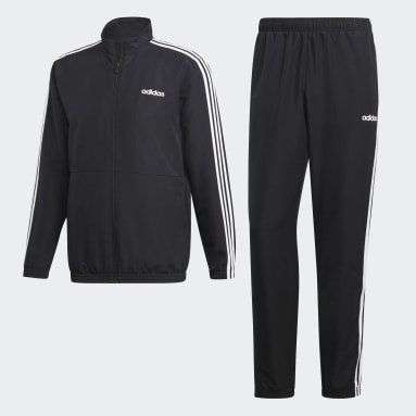 Men Sport Inspired Black 3-Stripes Woven Cuffed Track Suit