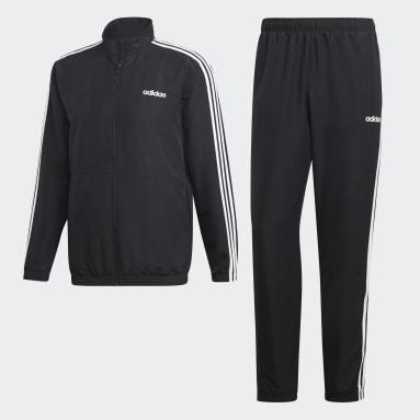 Men Training Black 3-Stripes Woven Cuffed Track Suit