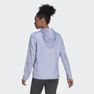 Women Running Purple Own the Run Hooded Windbreaker