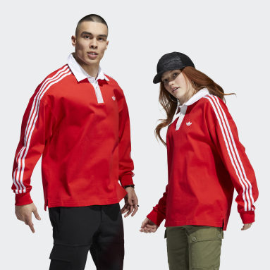 Originals Red Solid Rugby Jersey (Gender Neutral)