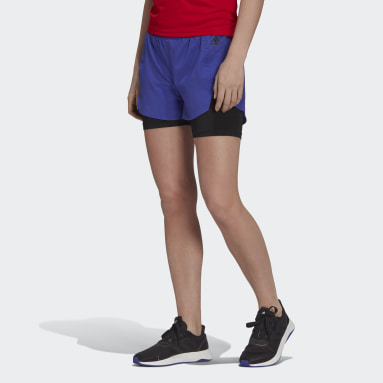 Shorts Primeblue Designed To Move 2-in-1 Sport Roxo Mulher Training